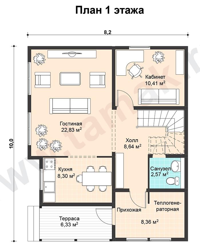 проект дома 10 на 8 план 1 этаж