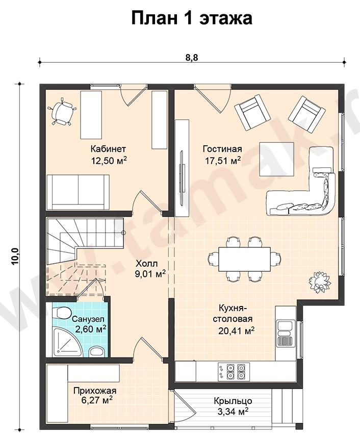 Проект дома 10 на 9 план 1 этаж