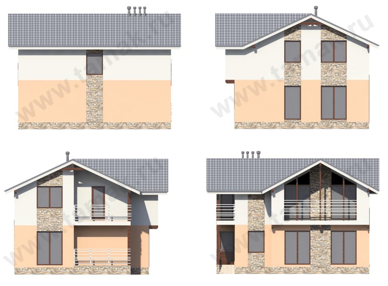 Проект дома 10 на 9 фасады