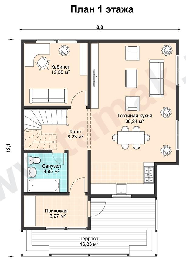 Проект дома 9 на 12 план 1 этаж