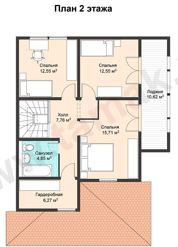 Проект дома 9 на 12 план 2 этаж