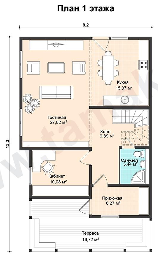 Проект дома 8 на 13 план 1 этаж