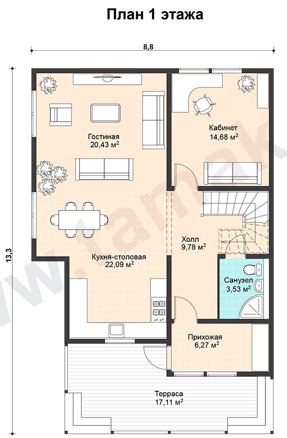 Проект дома 9 на 13 план 1 этаж