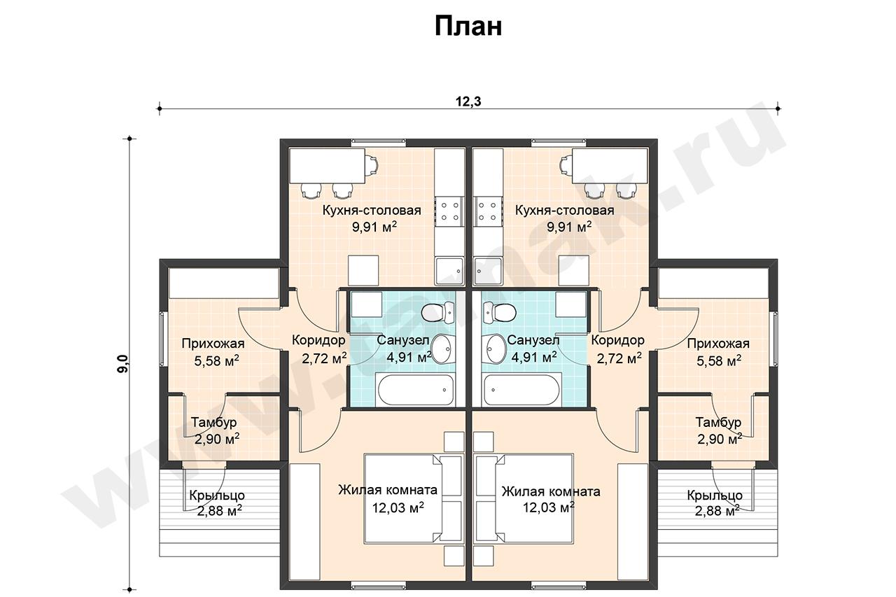 одноэтажный дом +на две семьи
