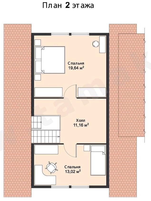 план 2 этаж проект дома 10х10