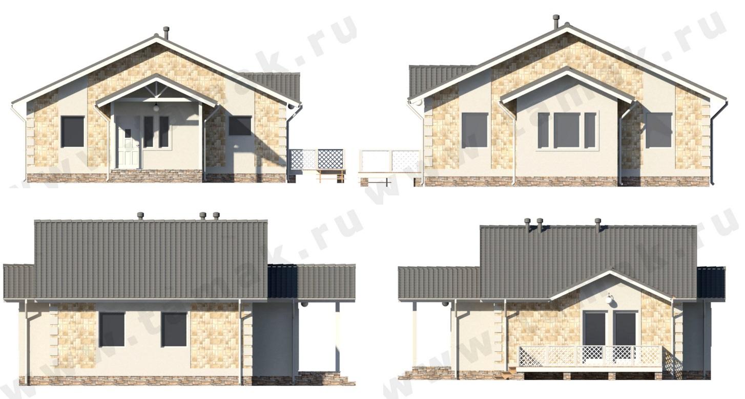 Одноэтажный жилой дом ПД-70-К-87 фасад